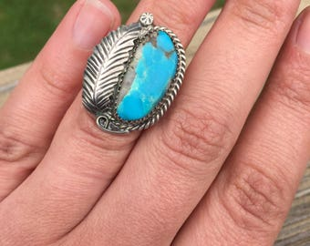 Sleeping Beauty Turquoise Feather Old Pawn Native American Sterling Silver Ring Dead Pawn