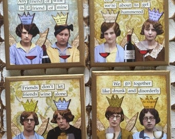 COASTERS!! Hilarious wine drinkers coasters with gold trim