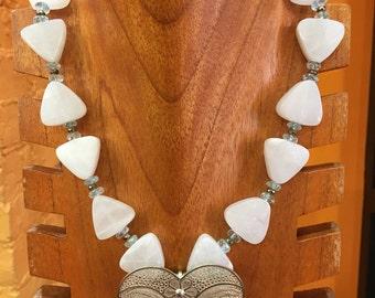 Aquamarine and white mate quartz