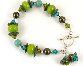 Apple Green Jade Gemstone Sterling Silver Bracelet