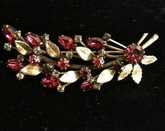 Goldtone Metal and Colored Rhinestone Floral Brooch