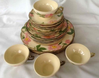 "Vintage Franciscan ""Desert Rose"" 20 Piece Dinnerware Set - Made in USA - 1941 to 1984"
