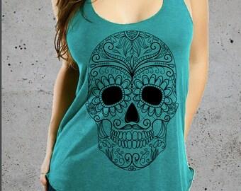 Sugar Skull Clothing,Womens SUGAR SKULL Tank Top)Skull TShirt-Day Of The Dead-Girlfriend Gift-Womens Graphic Tee-Dia De Los Muertos-