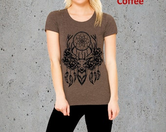 Native American Clothing,Womens DREAMCATCHER Shirt DEER Shirt)Deer Antler Shirt-Dream Catcher T-shirt American Apparel Girlfriend Gift-