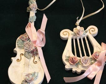 Vintage Collectible Harp and Cello White Washed Ornaments with Roses and Ribbon, Christmas Tree Decoration