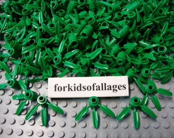 Lego Bamboo Leaves 50 Piece Bulk Greenery Foliage Landscaping 3-Leaf Parts Lot
