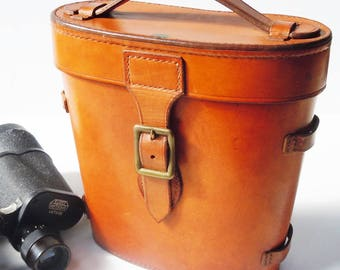 Leather Binocular Bag / Vintage saddle leather bag / Authentic Patina and Color / Wetzlar Binoculars