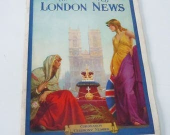 Coronation of King George VI and Queen Elizabeth / Full Color Images and B&W Ads / The Illustrated  London News