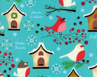 Jingle Birds Aqua Bird House Fabric by Keiki for Moda 100% Cotton by the half yard holiday fabric