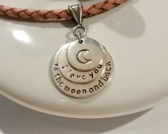 Pendant necklace - necklace - teen necklace - gift for her - I love you to the moon and back - Charm necklace - Valentine's Day gift