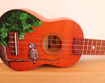 Hand Painted Owl In Tree Ukulele