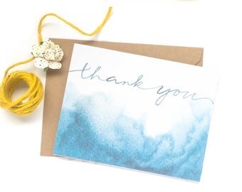 thank you | watercolor blue ombre, notecard, handlettered, elegant, classic
