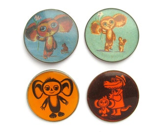 Cheburashka, Badge, Pick from Set, Cartoon, Vintage collectible badge, Soviet Vintage Pin, Set, Crocodile Gena, Made in USSR, 1970s
