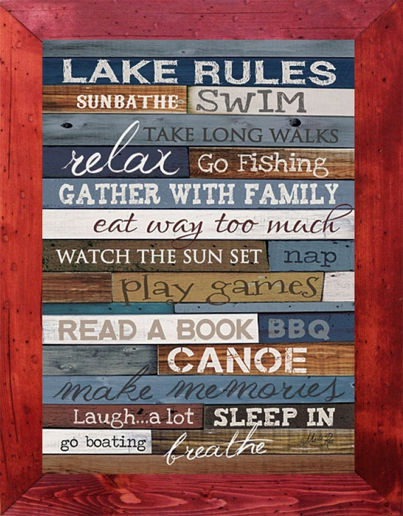 Lake rules framed print go fishing print lake decor lake for The rules of go fish