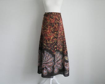 Vintage long brown batik wrap around skirt