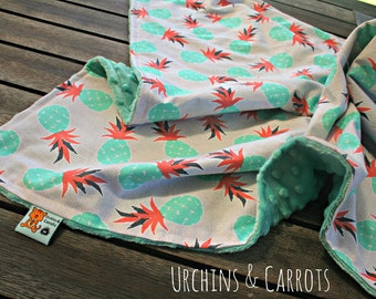 Pineapple Blanket made with minky and cotton, suitable for pram or bassinet