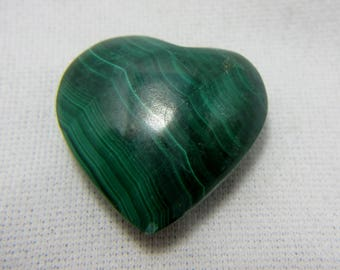 Malachite Heart, Puffed Heart, Malachite Cabochon, Malachite Gemstone, Malachite Jewelry, Wire Wrap, Protection,  23 x 23 x 9 mm  #32