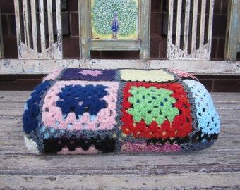 Vintage Multicoloured Granny Square Rug - Crochet Rug - Throw - Afghan