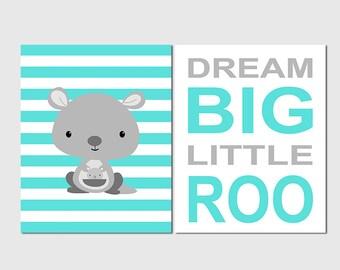 Kangaroo wall art print set -UNFRAMED- turquoise, grey, nursery wall art, kids room decor,  dream big little roo