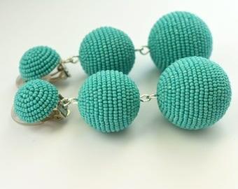 Beads earrings. Three ball earrings. Handmade.