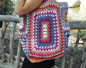 Granny Square Bag, Crochet Bag, Boho bag, Tote Bag, Shopping Bag, Summer Tote, Shoulder bag, Handmade bag, Vintage Bag,
