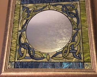 Mirror With Keltic Design in Blue and Lime Green