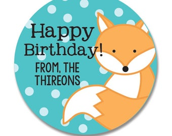 Fox Birthday Gift Stickers, Personalized Round Favor Tags, Woodland theme