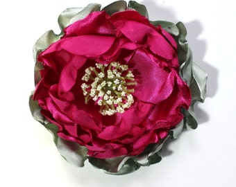 Flower Pin, Rose, Satin Fabric Flower, Corsage, Flower Accessory