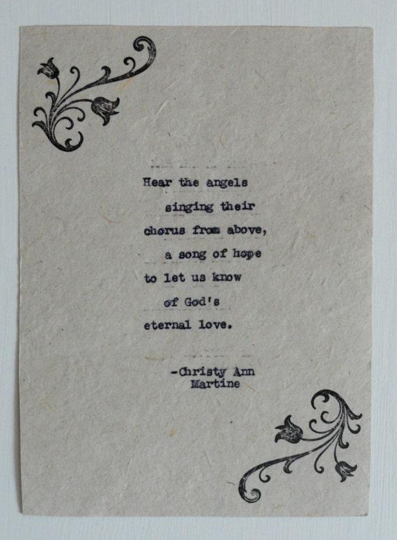Christmas Poem - Angel - Hear the Angels Singing - Vintage Typed Poem - Poetry Art - Hand Stamped