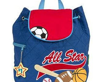 Stephen Joseph Personalized All Star Sports Quilted Toddler Backpack, Monogram,  Kids Backpack, Baseball, Soccer FREE PERSONALIZATION