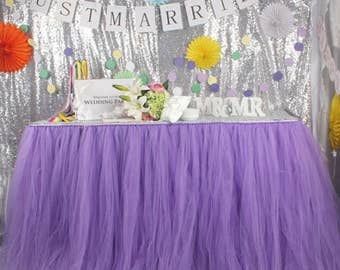 Romantic Purple Tutu Table Skirt Custom Size Made to Order for Wedding Birthday Baby Shower Backdrops