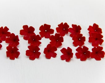10 Red beads, red flowers polymer clay, RED beads jewelry,  floral beads, red flowers 9-10mm