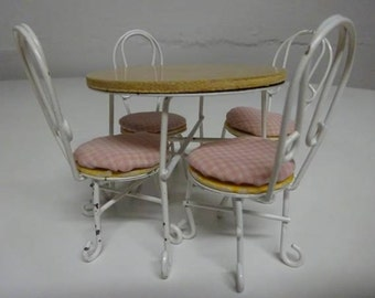 Vintage 1950's Style Doll House Ice Cream Parlor Table and Four Chairs by Price Products  FREE SHIPPING