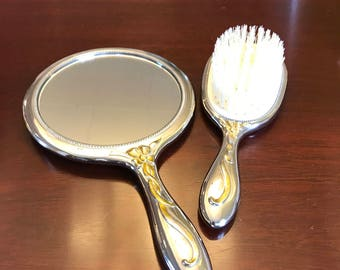 Vanity Dresser Set, Mirror Brush, Silver Plated with Gold Bow Ribbon Accent, gift set
