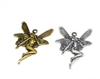 2x Trinity Brass Fairy Charm Fairy Pendant 25 mm - Antique Gold or Antique Silver