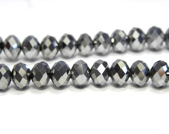 Faceted Glass Briolette Beads, Rondelle Beads 6mm - Metallic Silver