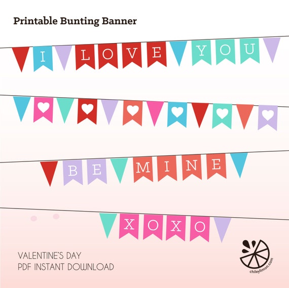 Valentine Heart Love Bunting Banner Printable INSTANT DOWNLOAD