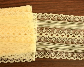 Three yards yellow lace, wide yellow trim, wide yellow lace, 3 3/4 inches Wide, yellow wide lace