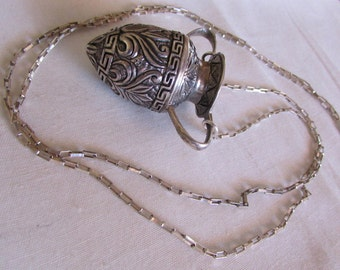 Sterling Silver Pottery Pendant on Long Chain Necklace