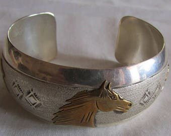 Navajo Sterling Silver and Brass Horse Cuff Bracelet