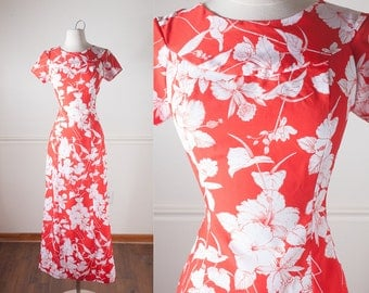 1960s Hawaiian Dress, Red Dress, Floral Dress, Psychedelic Dress, 60s Mod Dress, Long Dress, Maxi Dress, 60s dress, 70s dress, retro dress