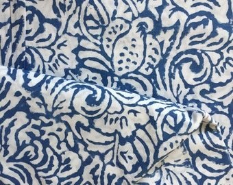 Organic Cotton, Indian Fabric, Indigo Dyed Fabric, Seaweed Print, Cambric Fabric, Hand Dyed,fabric by the yard,quilting cotton,sewing fabric