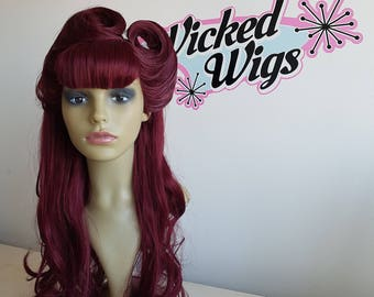 Custom wig, wine red, bangs and victory rolls, rockabilly, rock n roll, vintage, retro look pin up style