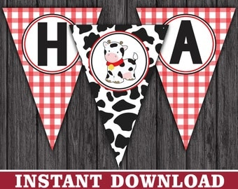 Cow Happy Birthday Banner - Party Decorations - Printable Digital File - INSTANT DOWNLOAD