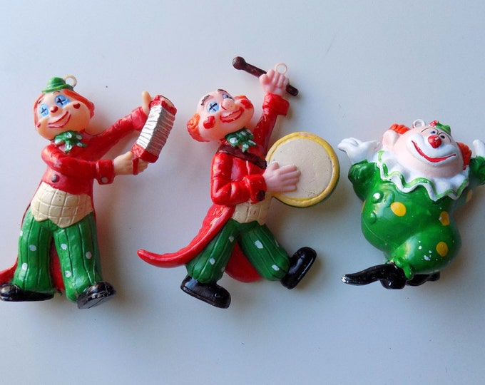 Featured listing image: 50s Clown Ornaments, Vintage Christmas, Blow Mold, Mid Century, Circus Clowns, Set of 3, 1950s, Kitsch, Holiday Tree, Christmas Tree, Creepy