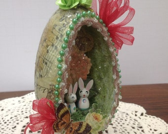 Free shipping, large decorated Easter egg, sparkle egg, diorama Easter egg