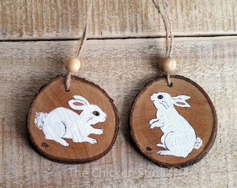 Bunny Ornaments, Set of 2, Easter decor, rabbit, Easter ornaments, Christmas ornaments, bunny