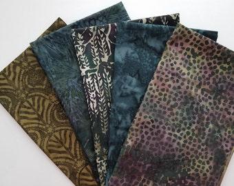Spotted Jungle Batik Fabric Bundle - 5  Fat Quarter Cuts - Green & Blue  - 100% Cotton