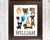 DOG Nursery Wall Art, CANVAS or Prints Boy Nursery Child DOG Puppy Puppies Theme Baby Bedroom