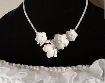 Grosse 1958 vintage Germany white metal necklace, 1950's jewelry, vintage necklace, wedding jewelry, bride's jewelry, antique necklace